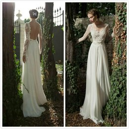 See Through Sexy Wedding Dresses with Sheer Long Sleeves Applique Chiffon Lace Berta Bridal Dresses Backless Beach Wedding Gowns 2015