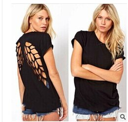 Summer back laser carving hollowing angel wings BLACK TEE female T-shirt Tops Tees