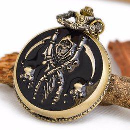 Wholesale 2016 hot Drip pirate skull retro pocket watch necklace fashion sweater chain clamshell fashion student table