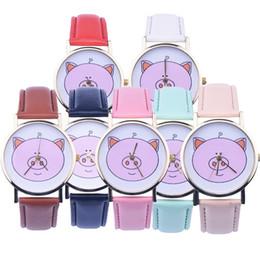 Cute Girl's Watch Cartoon Pig PU Leather Wristwatch Leisure Quartz Wrist Watch for Girl Student Hot
