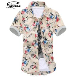 Wholesale-2016 Mens Embroidered Shirts Fashion Mens Floral Dress Shirts Trend Multicolor Print Florals Short-Sleeved Shirt Mens Clothing