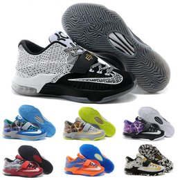 Wholesale Cheaper Kd Shoes - 2016 Cheap Kevin Durant KD 7 Basketball Shoes KD7 Sports Shoe Athletic Running shoes Best price Quality With Standout Mid sole Size 40-46