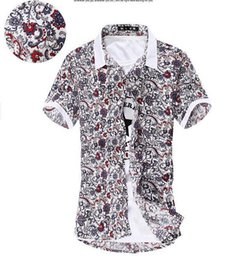 Wholesale-free shipping The new 2015 summer fashion man short sleeve shirt   Men's dress floral print shirt  casual men shirts 38