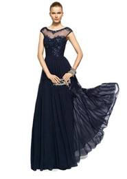 2016 Vintage Chiffon Lace Crew Illusion Neck Prom Evening Gowns Appliques Beads Cap Sleeves Plus Size Mother of the Bride Dresses