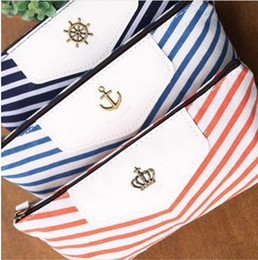 Canvas Navy Design Pencil Case Stationery Pen Bag, Cosmetic Bag, Make up Pouch Case dark blue orange sky blue 3 colors