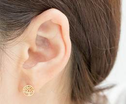 10Pair- S001 Tiny Life Tree Stud Earrings Cute Tree of Life Stud Earrings Mini Round Circle Family Tree Stud Earrings