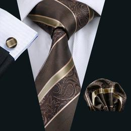 Brown Stripe Neck Tie Set Pocket Square Cufflinks Jacquard Woven Formal Mens Silk Tie Work Meeting Leisure N-0506