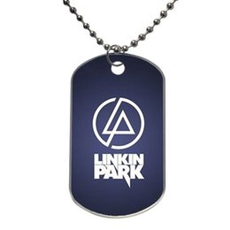 Wholesale Black LP linkin park Customized Colorful Design Dog Tag Necklace pendant chain Aluminum Tag for Animal Pets Tag
