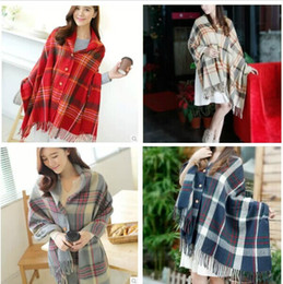 Christmas Party new Lady Women long oversized warm cashmere scarf with buttons plaid shawl