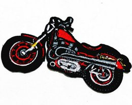 Wholesales~10 Pieces Red Motor Cycle (10 cm x 5.5 cm) Punk Patch Embroidered Iron on Applique Patch (AL)