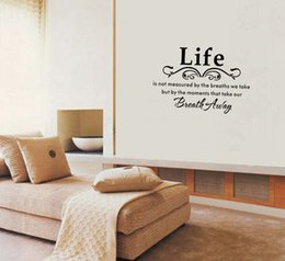 Wholesale Life English letters pvc wall sticker is not measured Vinyl Wall Home Decor Decal Inspirational Adorable WALL ART STICKER