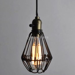 Wholesale New Arrivals Retro Iron Hanging Lamp Cages Shade No Wire Pendant Light E27 Antique Brass