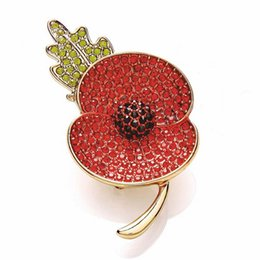 1.4 Inch Gold Tone Red Diamante Poppy Flower Brooch Pins UK Remebrance Day Brooch Accessory