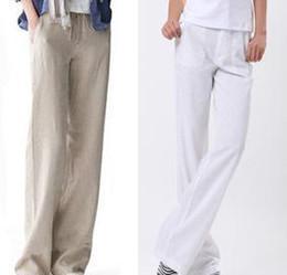 White linen wide leg pants plus size