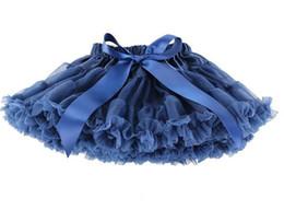 Wholesale Baby Girls kids Dance Navy blue Pettiskirt tutu skirt bow girls Party Chiffon Candy chiffonTutu Skirt Dancewear Ball gown Years old