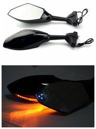 Wholesale Motorcycle Black Rearview Mirrors motocycle Indicators LED Rear view side mirror with LED turn lights universal model ZJMOTO