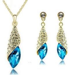 Fashion Crystal Jewelry Sets 18KGP Alloy Necklace Earrings Sets Women Fine Jewelry Leaf Shape Bride Jewelry Set 4156