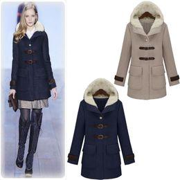 Hot Sale New Design Winter Coat Women European Style Fashion Pure Color Women Woolen Coat with Hoodies Women'S Coats WG266