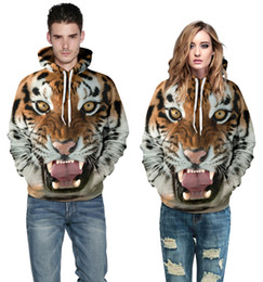 Wholesale 2016 Fashion men d digital printing hoodies sweatshirts will women ferocious tiger plus size round neck hedging hooded couple set clothes