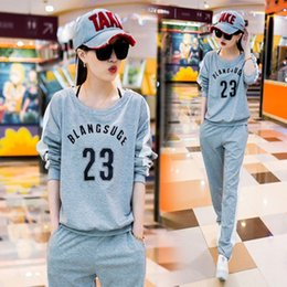 Wholesale Hot style Europe and the United States Fashion Letters Printed Leisure Fleece Suits Women Tracksuits Cotton Women Two Pieces Top Pants
