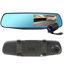 """Cámaras de lentes de porcelana en venta-Vista HD 4.3 """"LCD de doble objetivo de vídeo de la rociada de la cámara DVR registrador de la leva del coche 3 en 1 espejo retrovisor + frontal del coche DVR + cámara trasera 010229"""