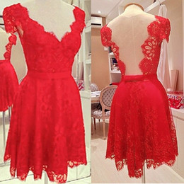 Short Sleeve Women Sexy V-neck Lace Backless Bodycon Slim Mini Red Crochet Evening Party Prom Dress Casual Vestido