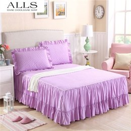 Wholesale korean cotton bedspreads to bed skirt bed sheet twin full queen size purple white yellow ruffle bedskirts for hotel