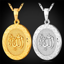 Wholesale U7 Muslim Allah Pendant Necklace Round K Real Gold Platinum Plated Fashion Jewelry Gift For Women Men Islamic Accessories