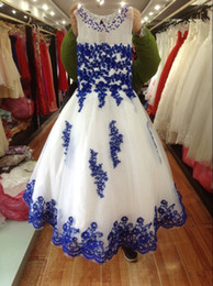 Custom Made New Lace Toddler Spaghetti White And Royal Blue Organza Beaded with Handmade Pageant Dresses for Girls Free Shipping