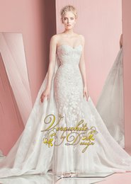 2016 New Zuhair Murad Mermaid Wedding Dresses sweetheart Neck Tulle Appliqued Lace Covered Button Back Sweep Train Bridal Gown Custom