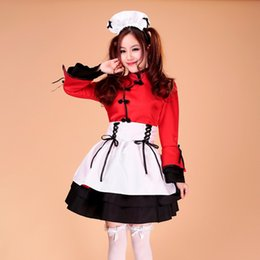Wholesale Sexiest Outfit Japan - Wholesale-Free Shipping Red Black Women Sexy Japan Japanese Lolita Maid Dress Cosplay Costume Outfit ms043