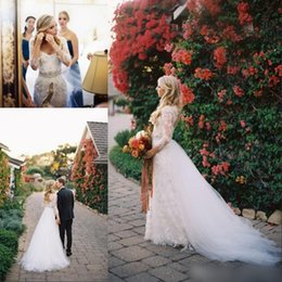 Modest Spring Long Sleeves Lace Wedding Dresses with Detachable Skirt Over Skirts Floor Length Keyhole Back Bridal Gowns Vestidos Noiva