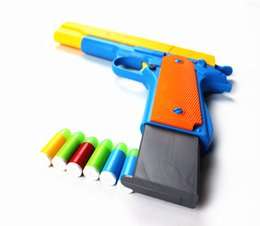 Wholesale 1pcs Classic m1911 Toys Mauser pistol Children s toy guns Soft Bullet Gun plastic Revolver Kids Fun Outdoor game shooter safety