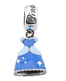 100% Sterling Silver Charms 925 Ale Enameled Blue DressDangle Charms for Pandora Bracelets DIY Beads Accessories