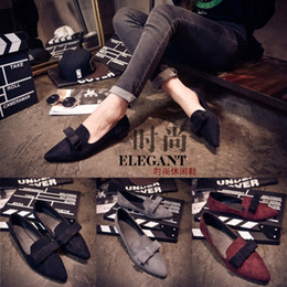 Wholesale 2015 New Women Casual Pointed Toe Loafers Flats Ballet Ballerina Bowtie Flat Shoes Color Size