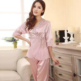 Elegant Womens Slik Blend Mid-Sleeve Pyjamas Sets Lace Full Length Nightwear Hot FG1511