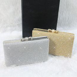 Wholesale Vintage Wedding Bridal Ladies Crystal Rhinestone Swarovski Stain Beaded Evening Clutch Bag Handbags Metal Hard Box Envelope Purse Makeup Kit
