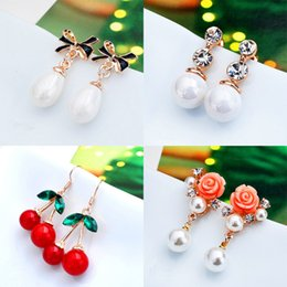 Fashion Multi Design Dangle Earings Exquisite Diamond Crystal Pearl Rose Earrings Women Girls Jewelry for Wedding Party Cheap Price In Bulk