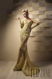 2015 Sexy Yellow Lace Long Sleeve Mermaid Sheer Evening Gowns Backless Long Prom Dresses Scoop Neckline
