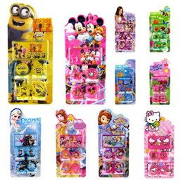 Wholesale 120sets minions stamp childrens cartoon stationery pattern stamp sets big hero Sofia KT cat Cinderella Action Figures kids toys HX