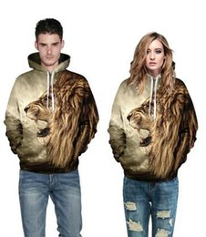 Hot 2016 spring new couple of clothing Sweatshirts printing lion's head domineering Hooded Sweatshirts personality Tops T-shirt
