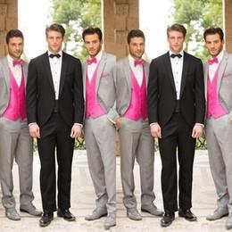 Lazo formal de color rosa en Línea-2015 Creativa bodas de plata Bestmen Trajes vendedores calientes (Jacket + tie + vest + pants) Trajes con corbata rosa y chaleco por encargo Traje Formal