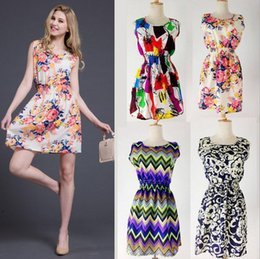 Wholesale Europe and the United States new summer dress printed chiffon dress in waist sleeveless vest dress in large flowers dress
