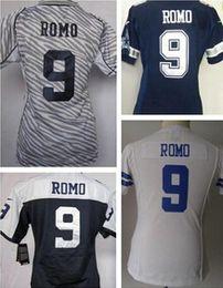Wholesale Cheap Tony Romo Women Jersey Cheap Dallas Girl Jerseys Zebra diamante Pink Thanksgiving Day White Blue Football Jerseys