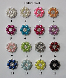 Free Shipping Wholesale 25mm 16 colors Flatback Rhinestone Button For Hair Flower Wedding Invitation Pearl Button 48pcs lot BHP08022-1