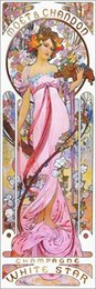 Free shipping Alphonse Mucha impression oil painting - Moet and Chandon, White Star, rose