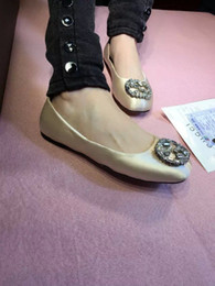 Wholesale new Rhinestone Buckle comfort satin or lambskin genuine leather classic ballet flat ballerinas