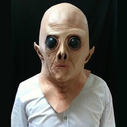 Halloween Party Mask UFO Alien Head Latex Mask Cosplay Creepy Saucer Man Full Face Horror Ghost Costume