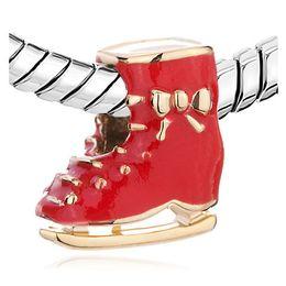 10 pcs per lot Enamel Red Skating Shoes European Charm Gold Plating Beads Fit Pandora DIY Bracelet