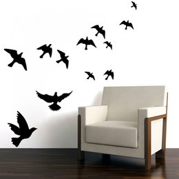 Wholesale Ebay hot selling Pretty Geese Ducks Birds flying Wall Art Vinyl Decoration Removable Sticker decals